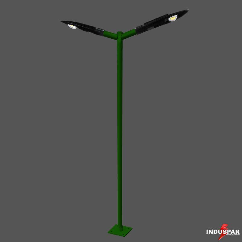 Poste de Iluminação Led Reto Angular - 2 Luminárias Pétala  50W (3 à 12 Metros)