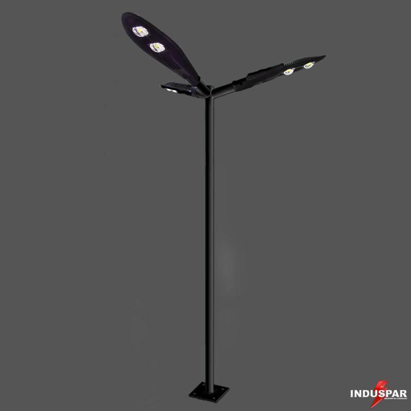 Poste de Iluminação Led Reto Angular - 3 Luminárias Pétala 100W (3 à 12 Metros)