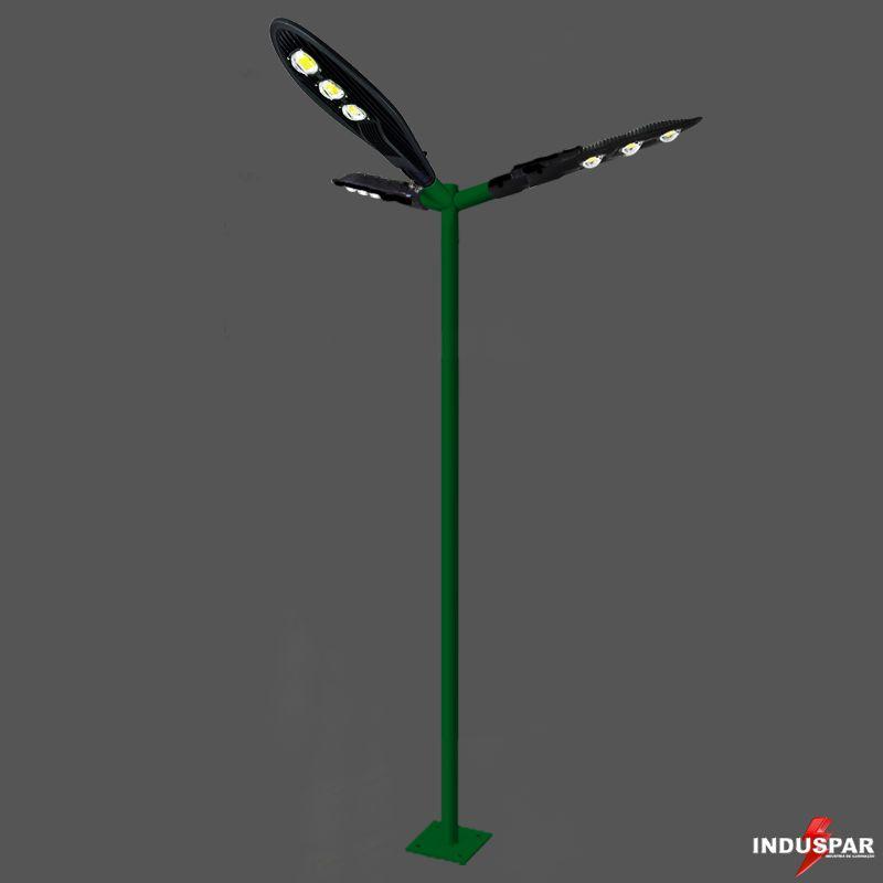Poste de Iluminação Led Reto Angular - 3 Luminárias Pétala 150W (3 à 8 Metros)