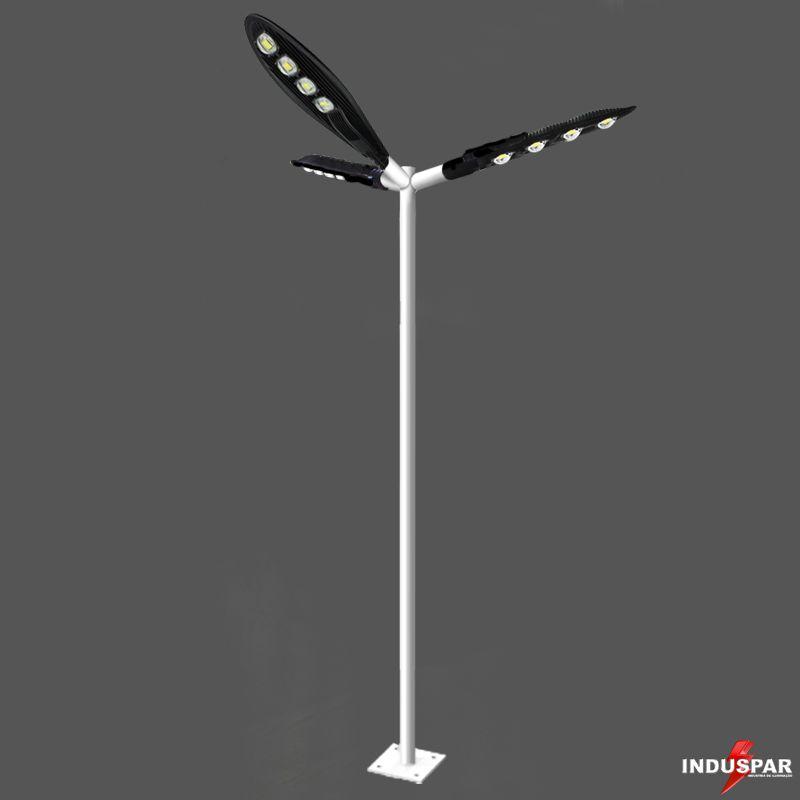 Poste de Iluminação Led Reto Angular - 3 Luminárias Pétala 200W (3 à 12 Metros)