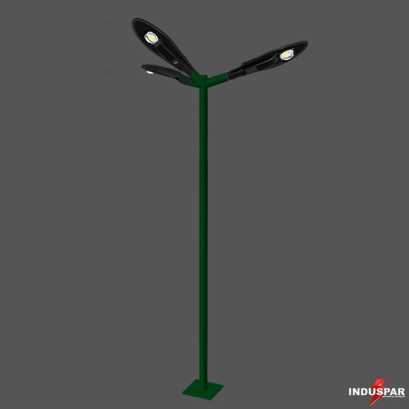Poste de Iluminação Led Reto Angular - 3 Luminárias Pétala  50W (3 à 12 Metros)