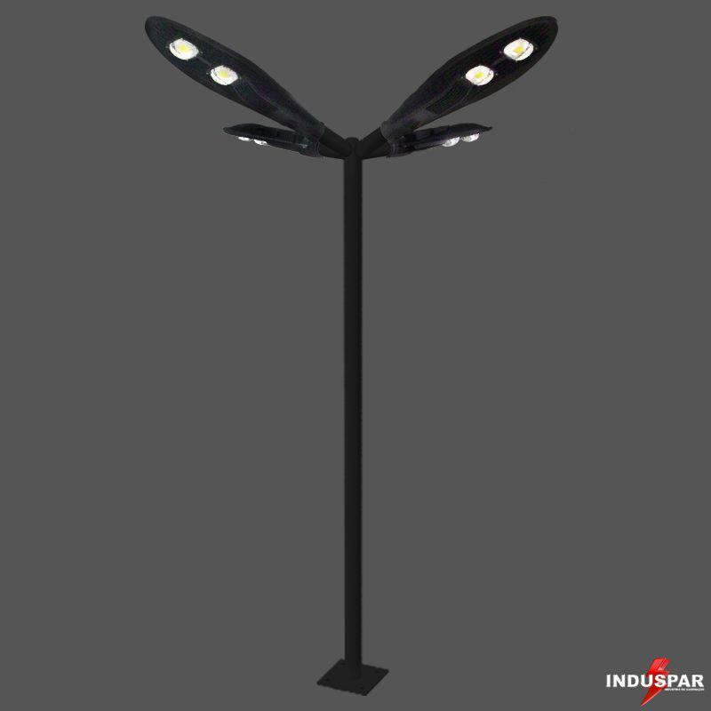 Poste de Iluminação Led Reto Angular - 4 Luminárias Pétala 100W (3 à 12 Metros)