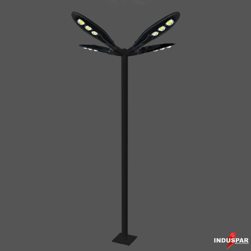 Poste de Iluminação Led Reto Angular - 4 Luminárias Pétala 150W (3 à 12 Metros)