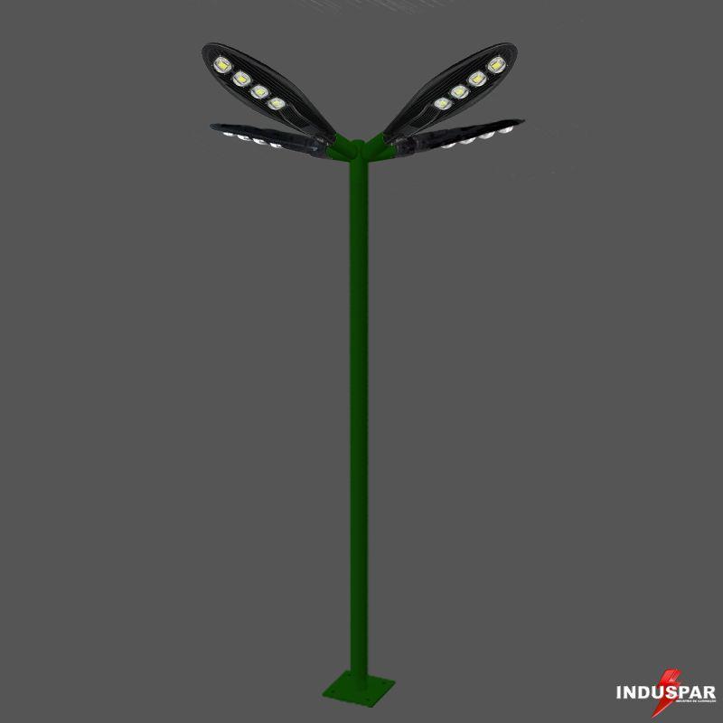 Poste de Iluminação Led Reto Angular - 4 Luminárias Pétala 200W (3 à 12 Metros)