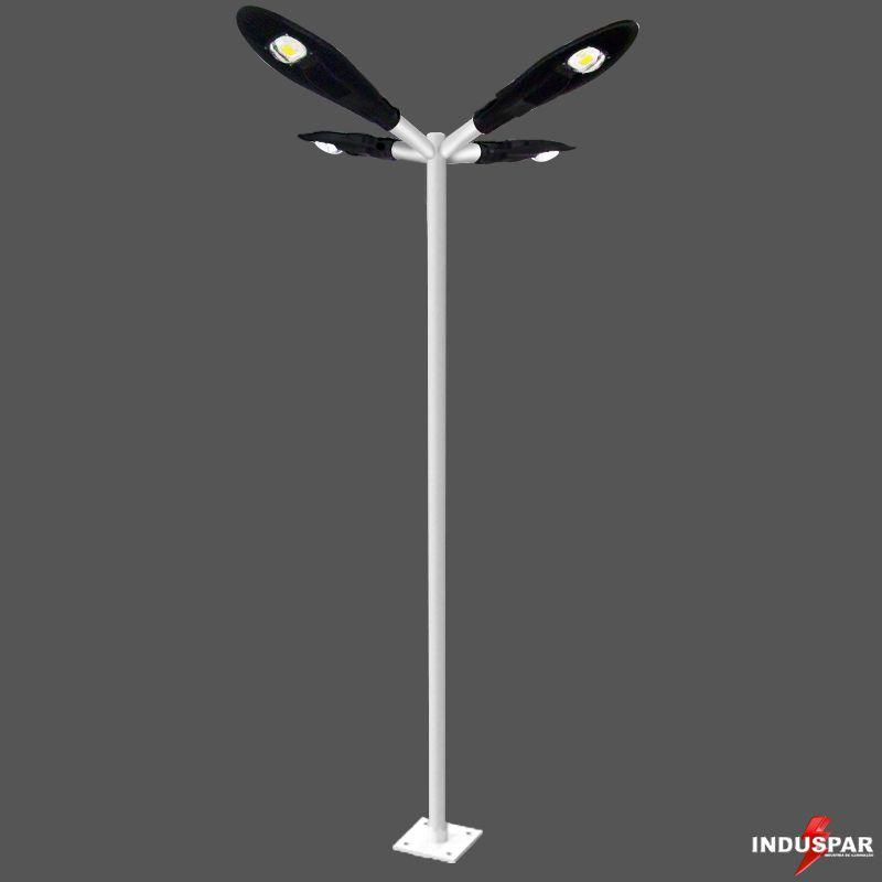 Poste de Iluminação Led Reto Angular - 4 Luminárias Pétala  50W (3 à 12 Metros)