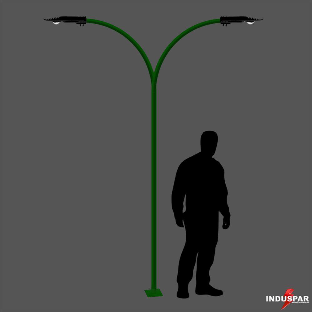 Poste de Jardim Curvo Led 2 Luminárias  50W - 3 A 4 Metros