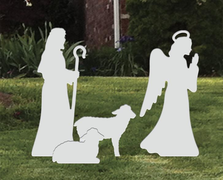 Ref: 200 491 - Presépio  Elegance Branco Médio - Kit Anjo / Pastor / Ovelhas