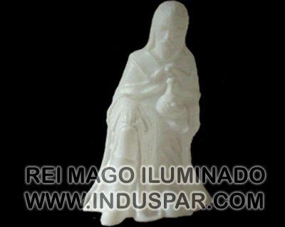 002/6 - Personagem Rei Mago Gaspar Branco Iluminado Presépio Tradição Polietileno