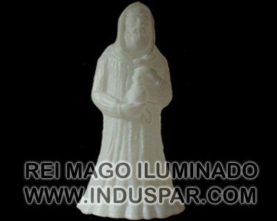 002/3 - Personagem Rei Mago Baltazar Branco Iluminado Presépio Tradição Polietileno