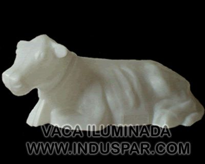 002/8 - Personagem Vaca Branco Iluminado Presépio Tradição Polietileno