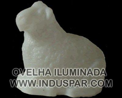 002/7 - Personagem Ovelha Branco Iluminado Presépio Tradição Polietileno