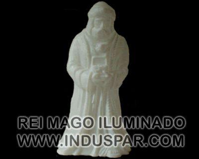 002/5 - Personagem Rei Mago Melchior Branco Iluminado Presépio Tradição Polietileno