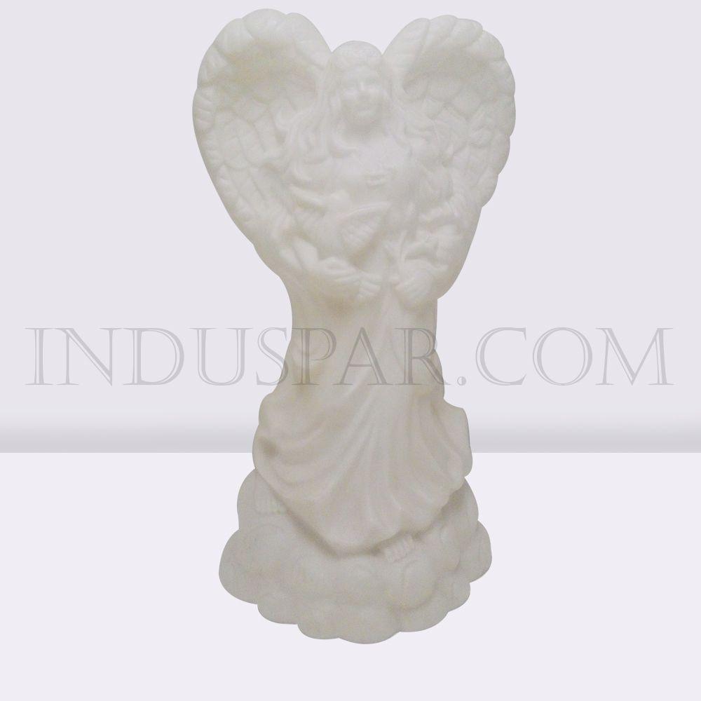 002/9 - Personagem Anjo Branco Iluminado Presépio Tradição Polietileno