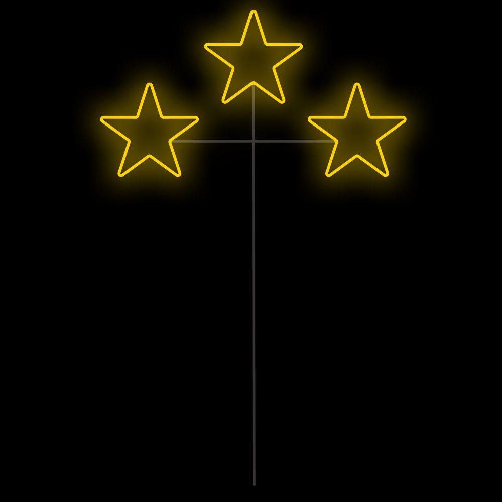 FI-058 - Decoração Metálica Iluminada Led - Estrela Tripla Espeto 1,30 MTS x 0,70 MTS