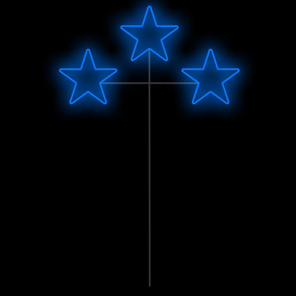 023-FA - Decoração Metálica Iluminada Led - Estrela Tripla Espeto 1,30 MTS x 0,70 MTS
