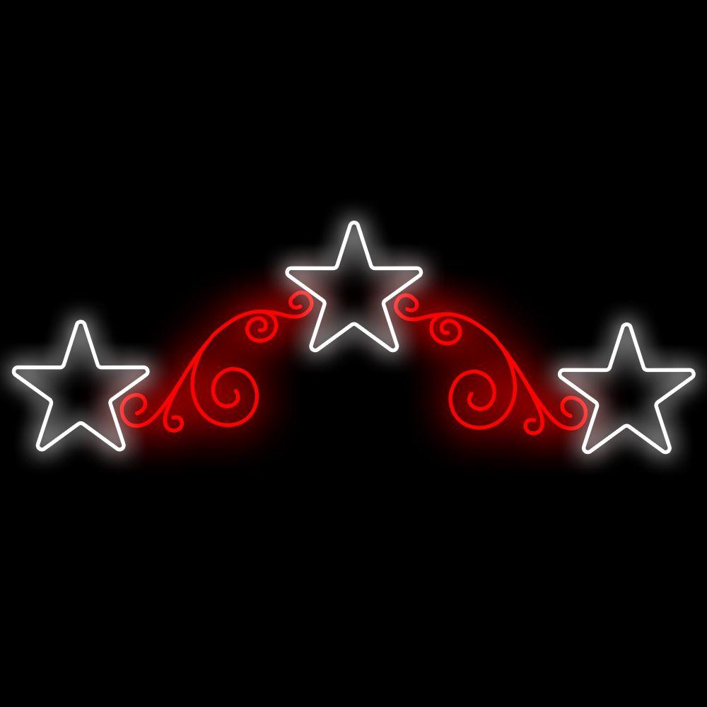 038-FA - Decoração Metálica Iluminada Led - Estrelas Reais 1,50 X 0,50mts