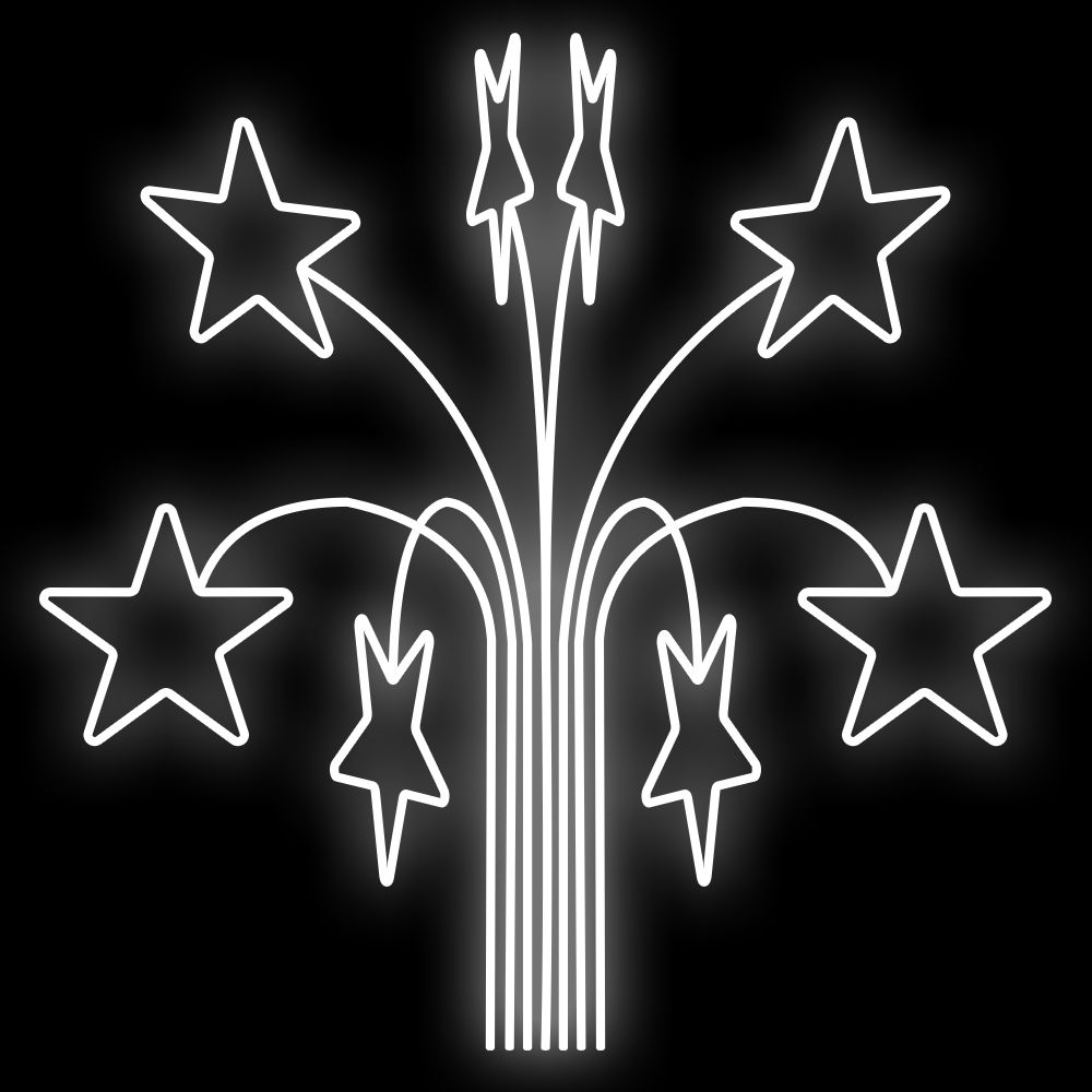 FI-049 - Ramalhete Estrelas Espeto 3D - Tam 1,60 x 1,20 Metros