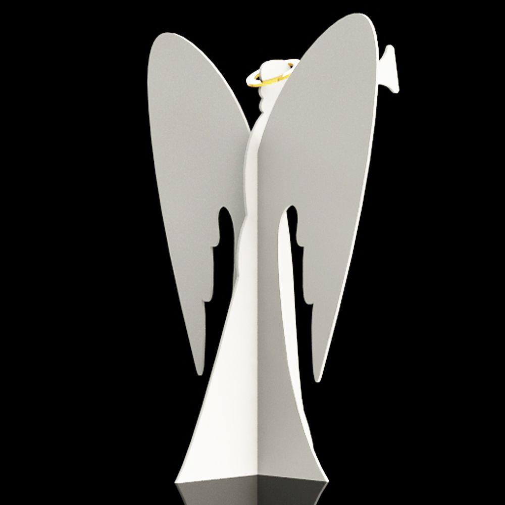 MD-081 - Anjo 3D Gigante com Trompete 2,20 x 1,60 metros Branco e Dourado