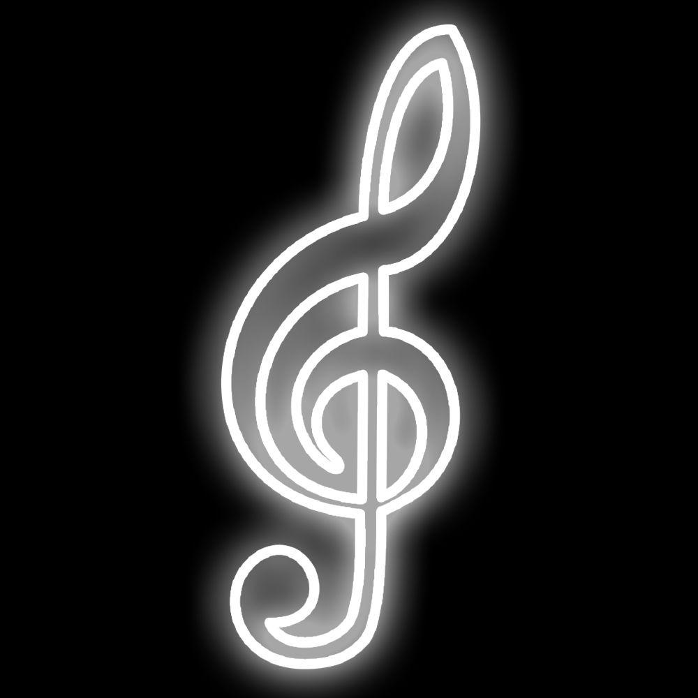 FI-137 - Decoração Metálica Iluminada Led - Notas Musicais - MED 1,00 x 0,50 mts