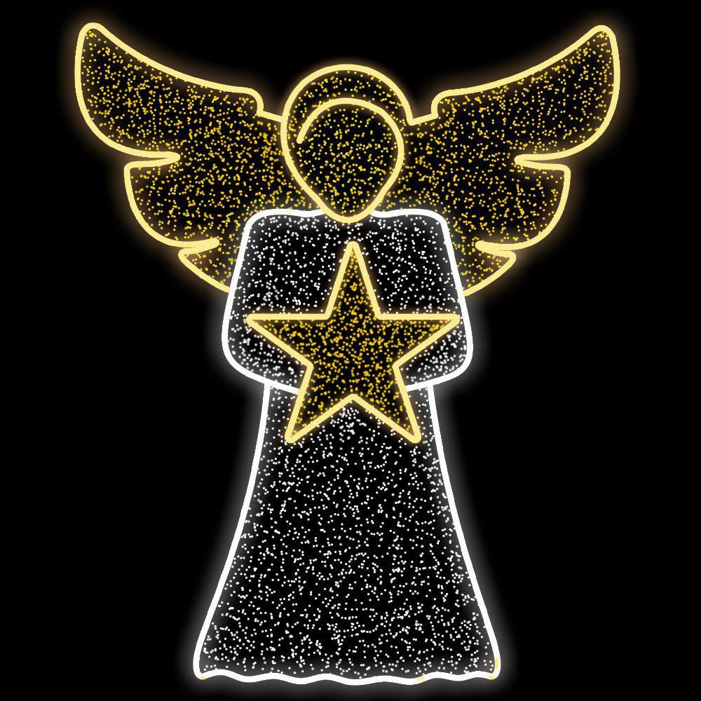 102-FA/B - Decoração Metálica Iluminada Led - Anjo Heman com estrela Revestido com Led Cintilante -  MED 1,50 X 1,22 mts