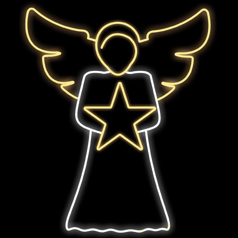 102-FA/A - Decoração Metálica Iluminada Led - Anjo Heman com estrela -  MED 1,50 X 1,22 mts