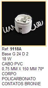 Soquete para Lâmpada Fluorescente Circular / PL  18W e 26W 2 Fios - Ref 9118A