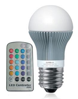 Lâmpada Bulbo   5W LED RGB E27 Bivolt com Controle Remoto - LL01