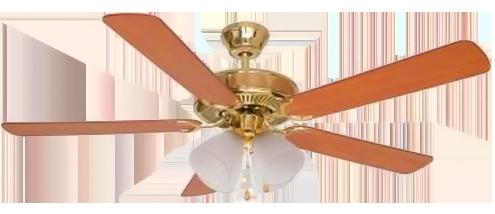 Ventilador de Teto 5 Pás - Home Line - HL 01 - Dourado - Lustre com 4 Tulipas de Vidro - 52 Pol