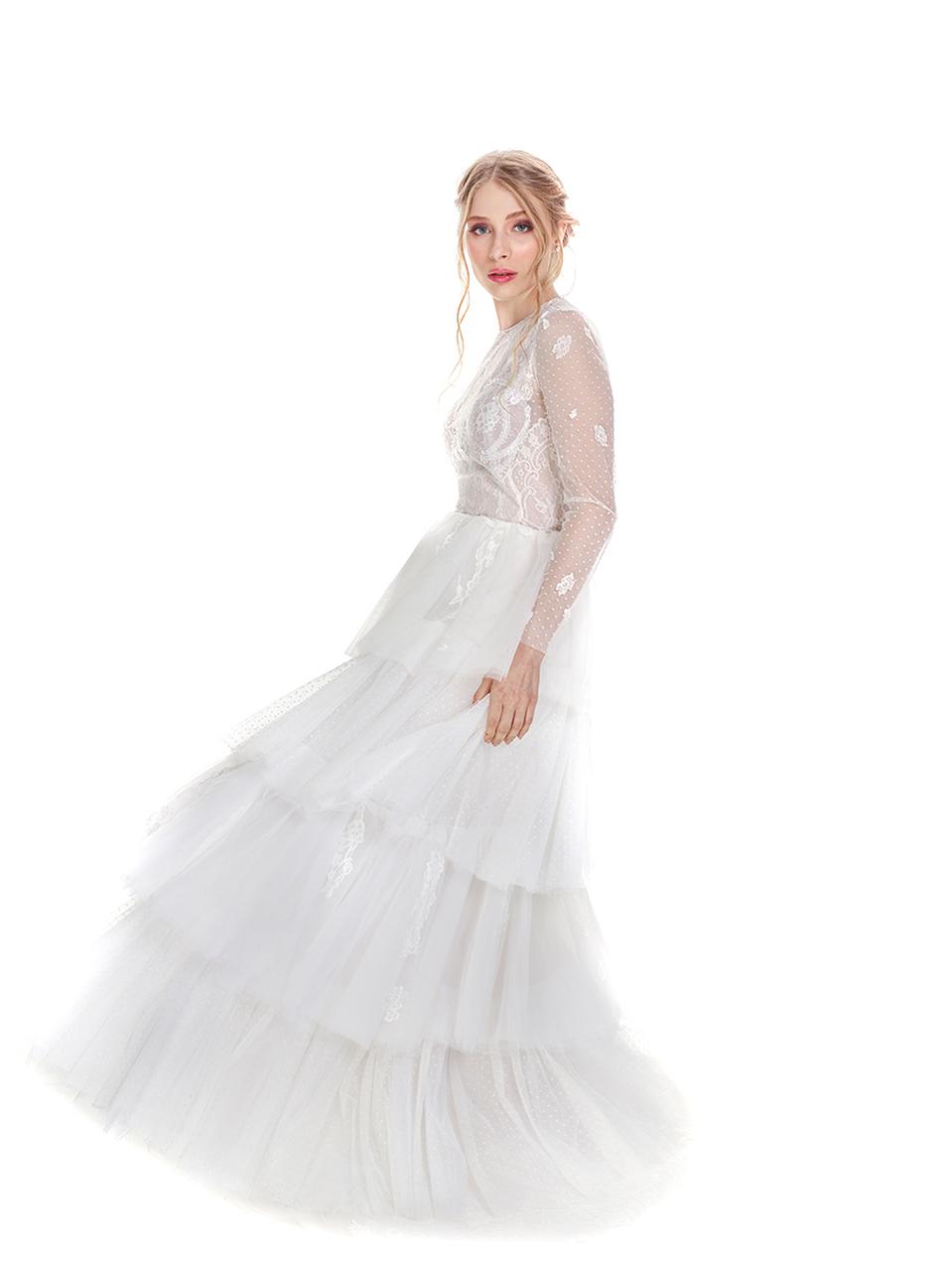 Vestido de Noiva Boho Poá Babados
