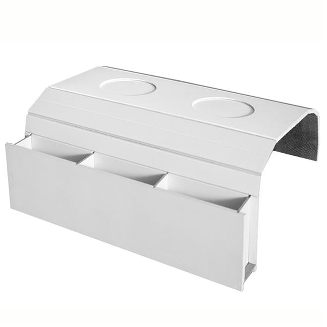 Bandeja Laqueada para Sofá Porta Copos Com Porta Controle Branco