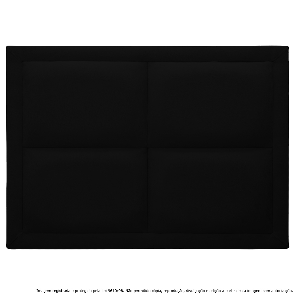 Cabeceira Estofada Painel Preta Para Cama Box Solteiro 90cm