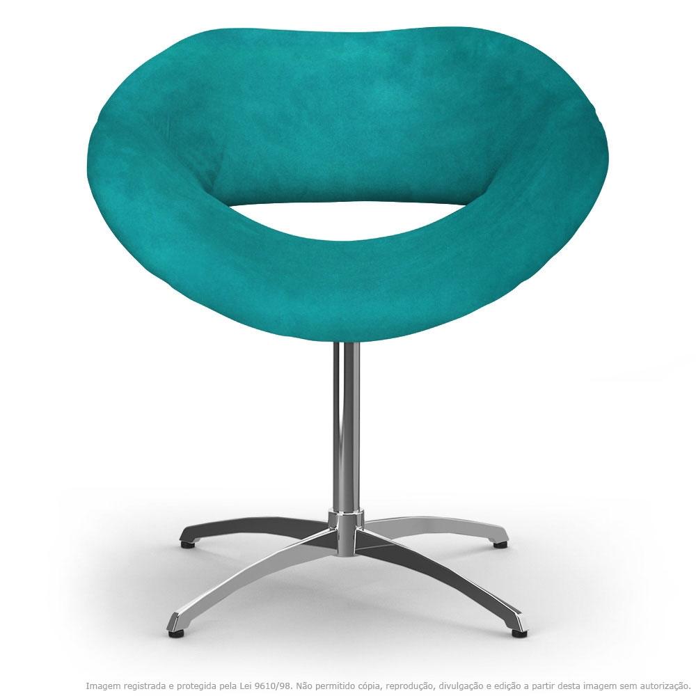 Cadeira Beijo Azul Turquesa Poltrona Decorativa com Base Giratória