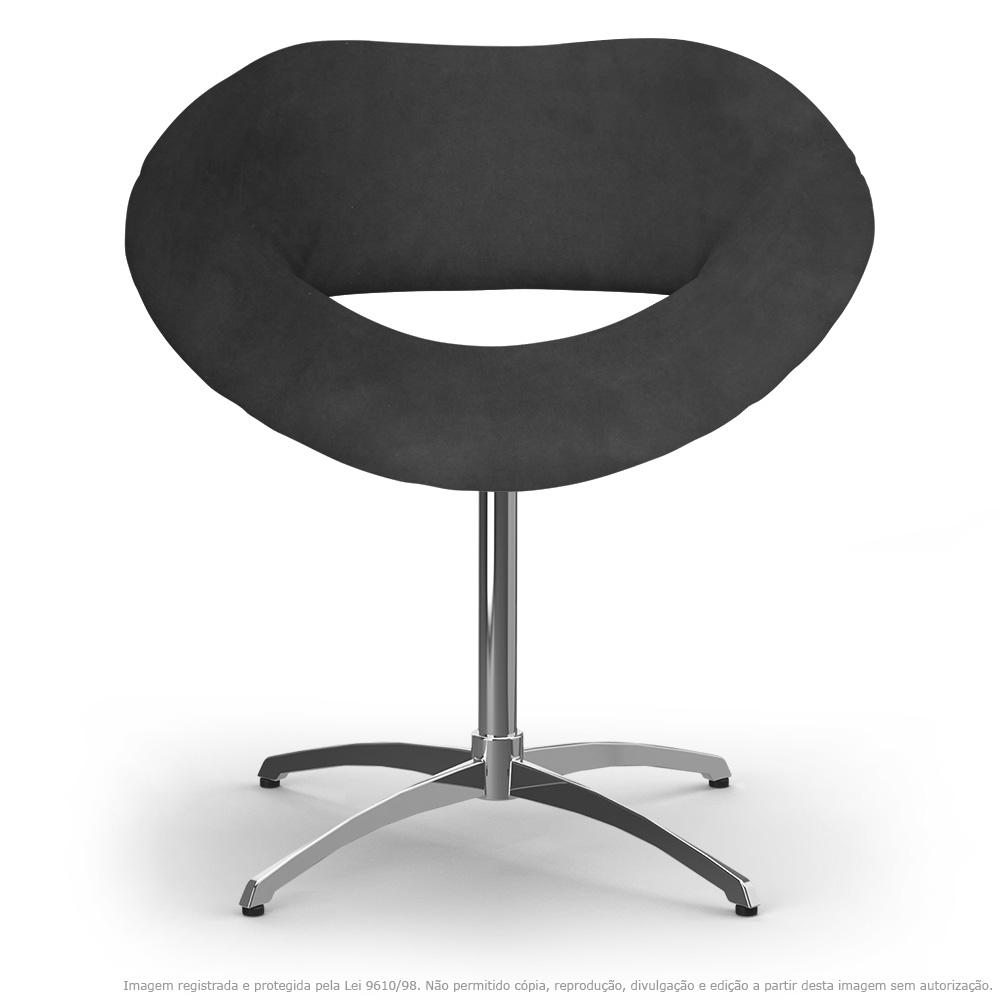 Cadeira Beijo Cinza Poltrona Decorativa com Base Giratória