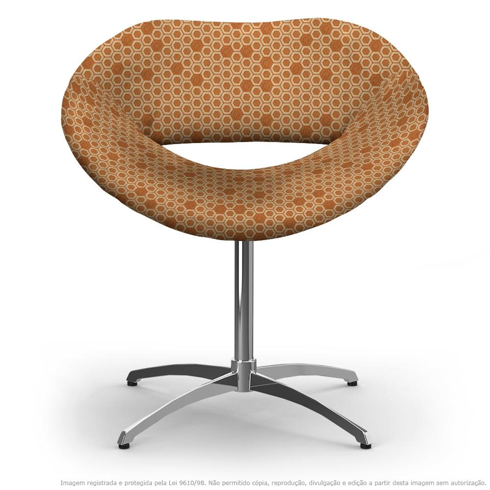 Cadeira Beijo Colmeia Laranja e Marrom Poltrona Decorativa com Base Giratória