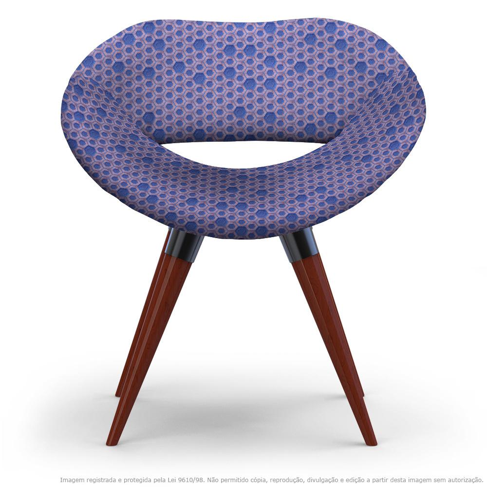 Cadeira Beijo Colmeia Lilás e Rosa Poltrona Decorativa com Base Fixa