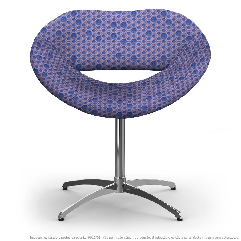 Cadeira Beijo Colmeia Lilás e Rosa Poltrona Decorativa com Base Giratória