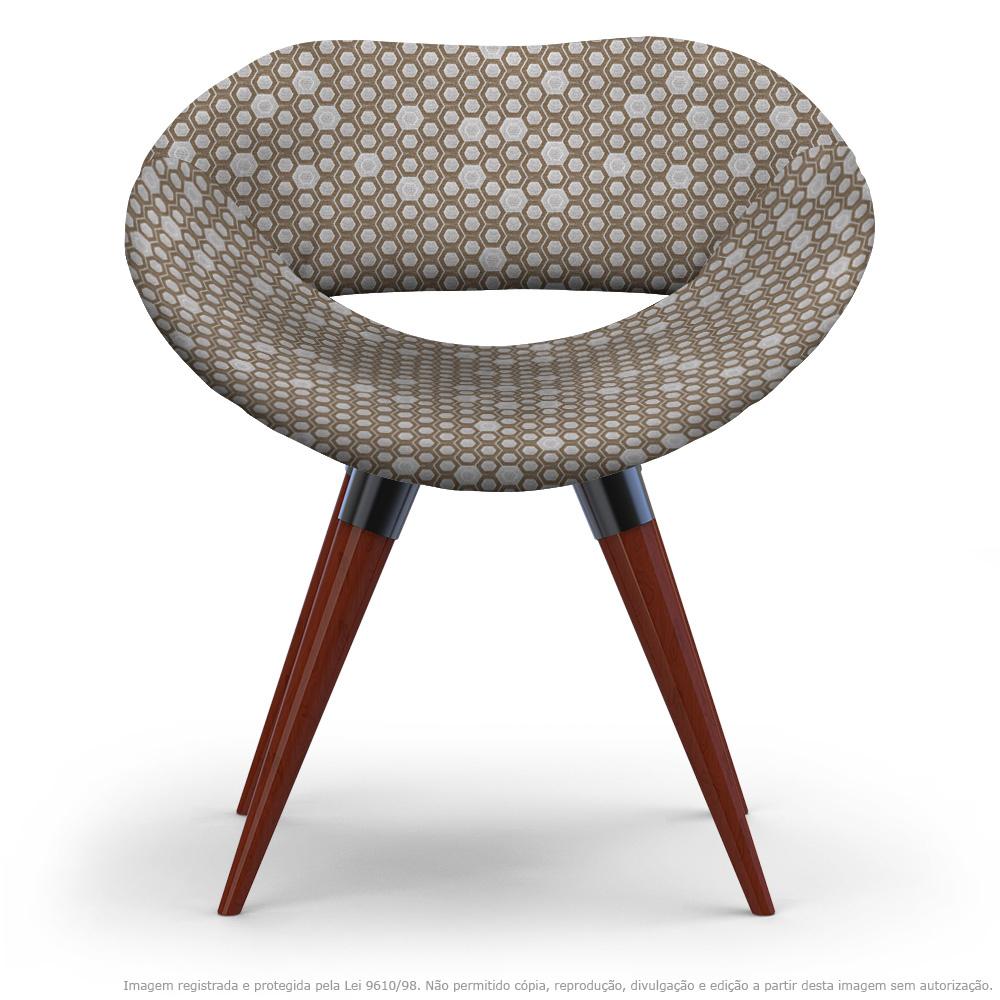 Cadeira Beijo Colmeia Marrom Poltrona Decorativa com Base Fixa