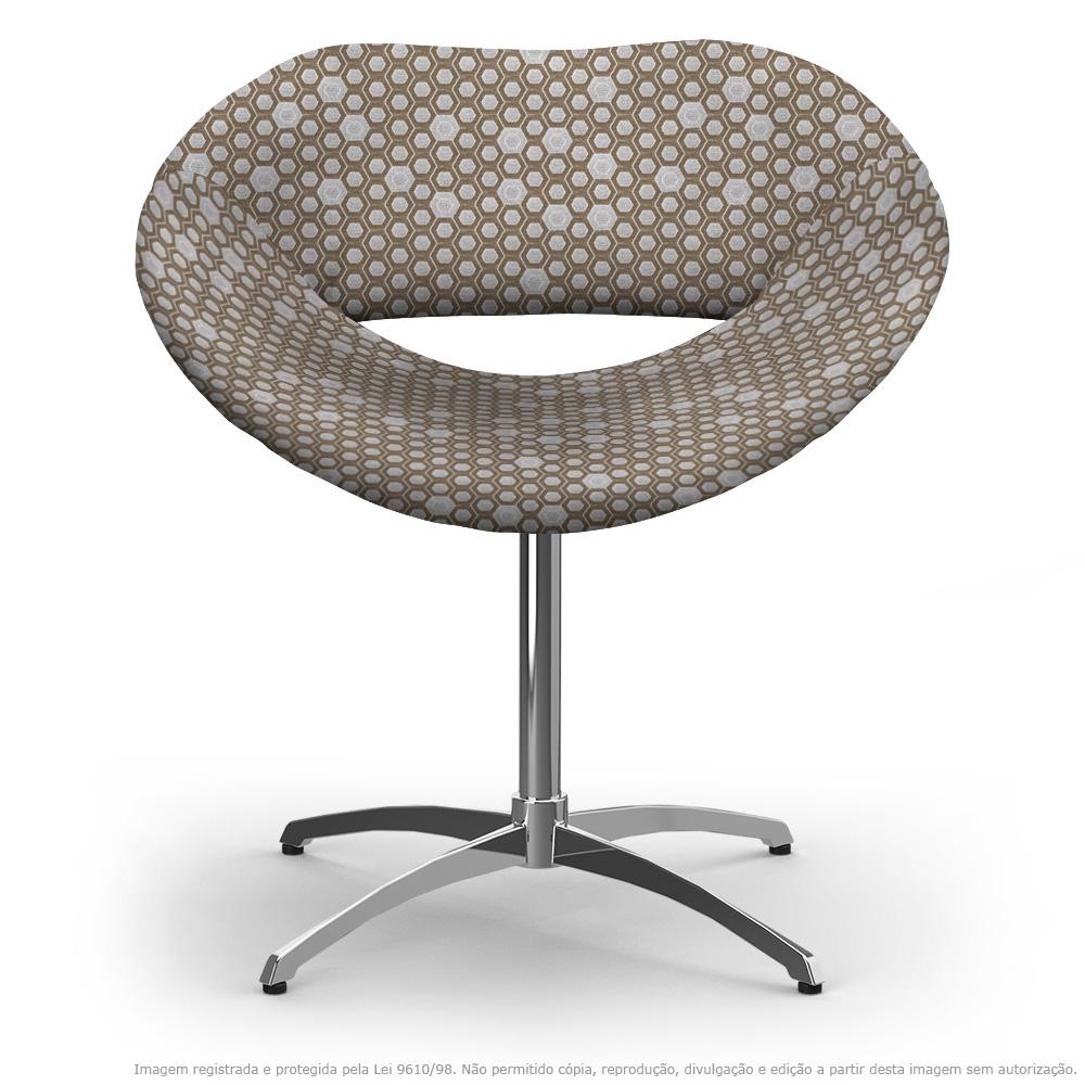 Cadeira Beijo Colmeia Marrom Poltrona Decorativa com Base Giratória