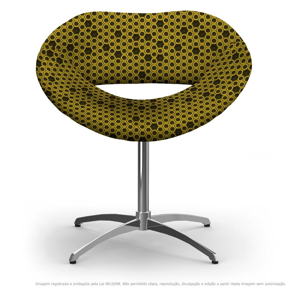 Cadeira Beijo Colmeia Preto e Amarelo Poltrona Decorativa com Base Giratória