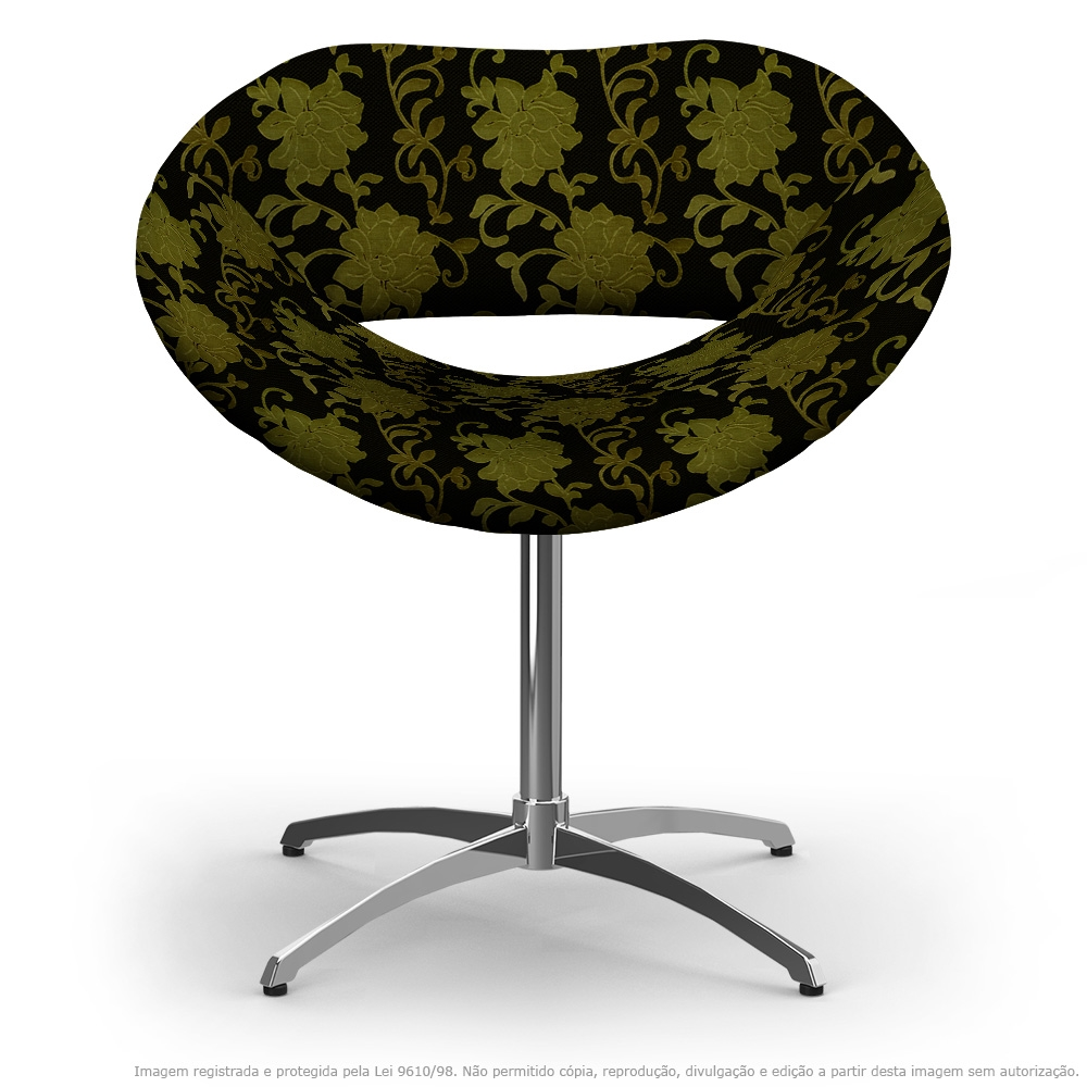 Cadeira Beijo Floral Amarelo e Preto Poltrona Decorativa com Base Giratória