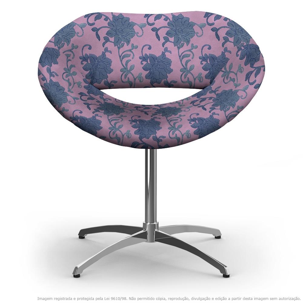 Cadeira Beijo Floral Lilás e Rosa Poltrona Decorativa com Base Giratória