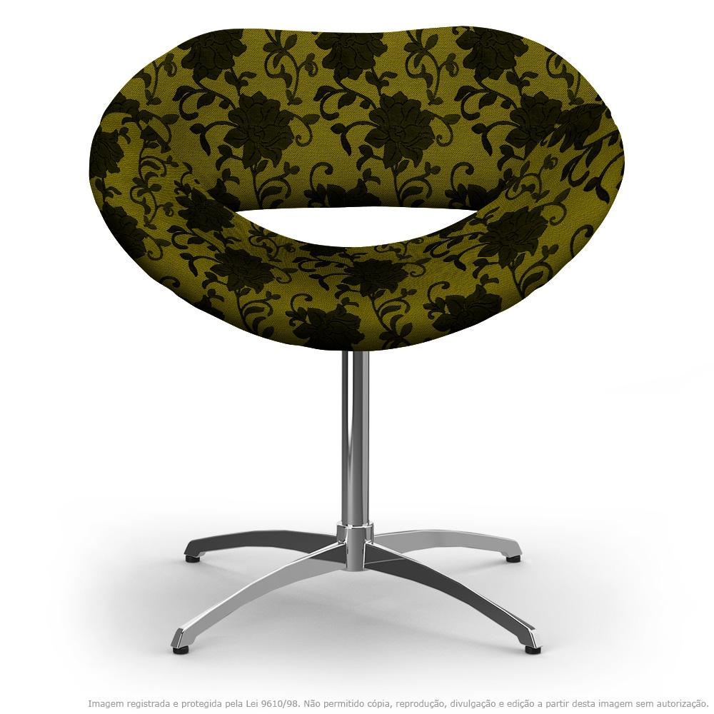 Cadeira Beijo Floral Preto e Amarelo Poltrona Decorativa com Base Giratória