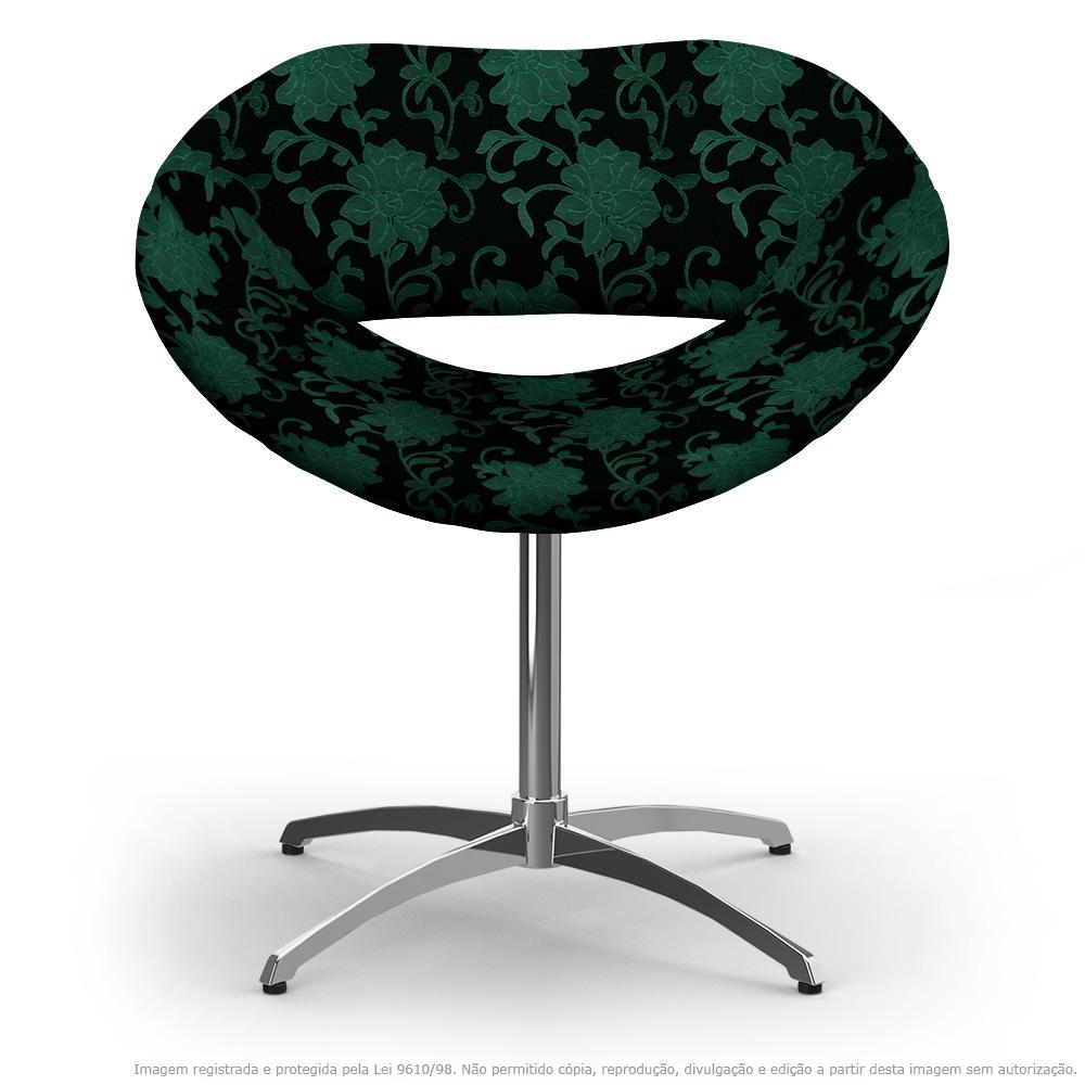 Cadeira Beijo Floral Verde e Preto Poltrona Decorativa com Base Giratória
