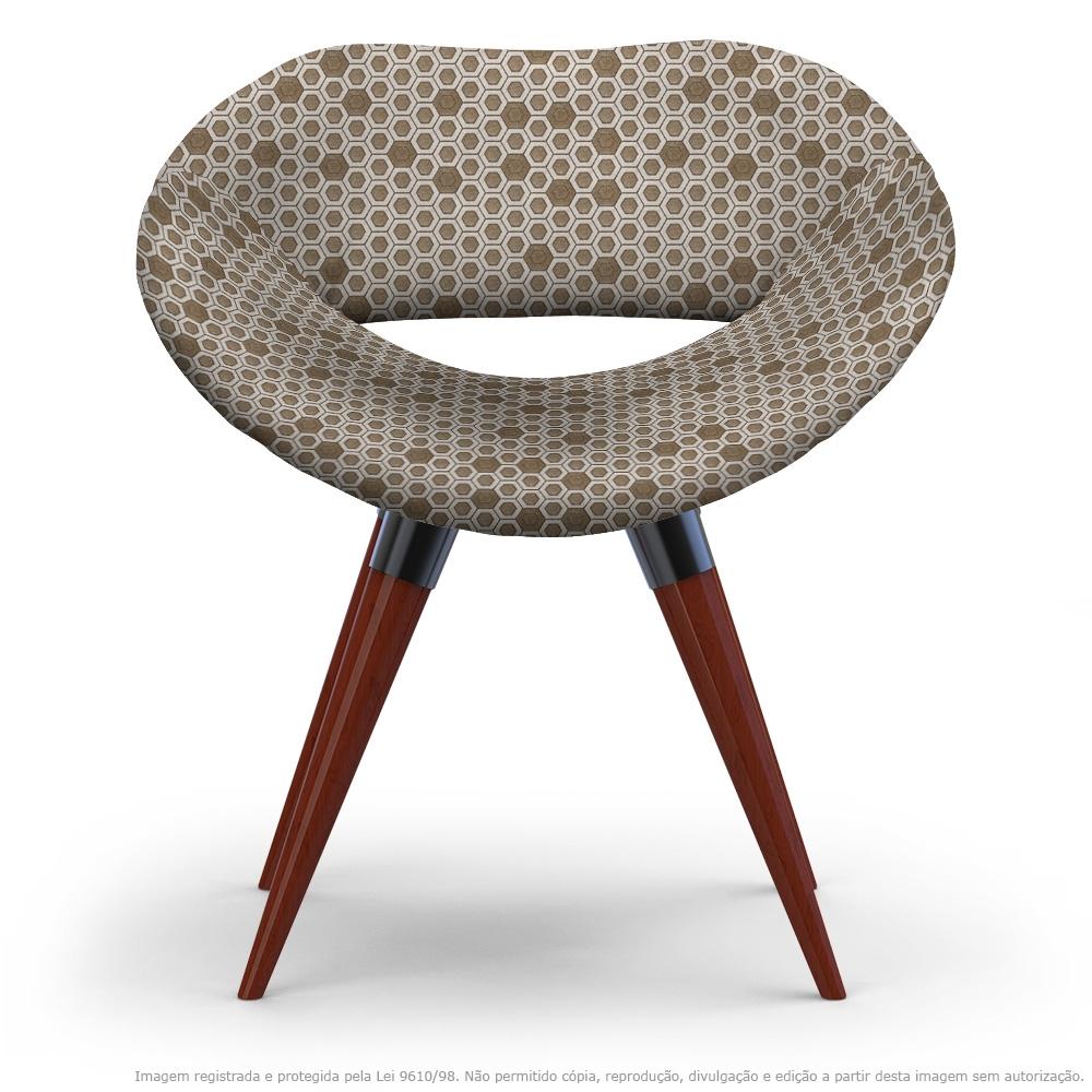 Cadeira Beijo Marrom Colmeia Poltrona Decorativa com Base Fixa