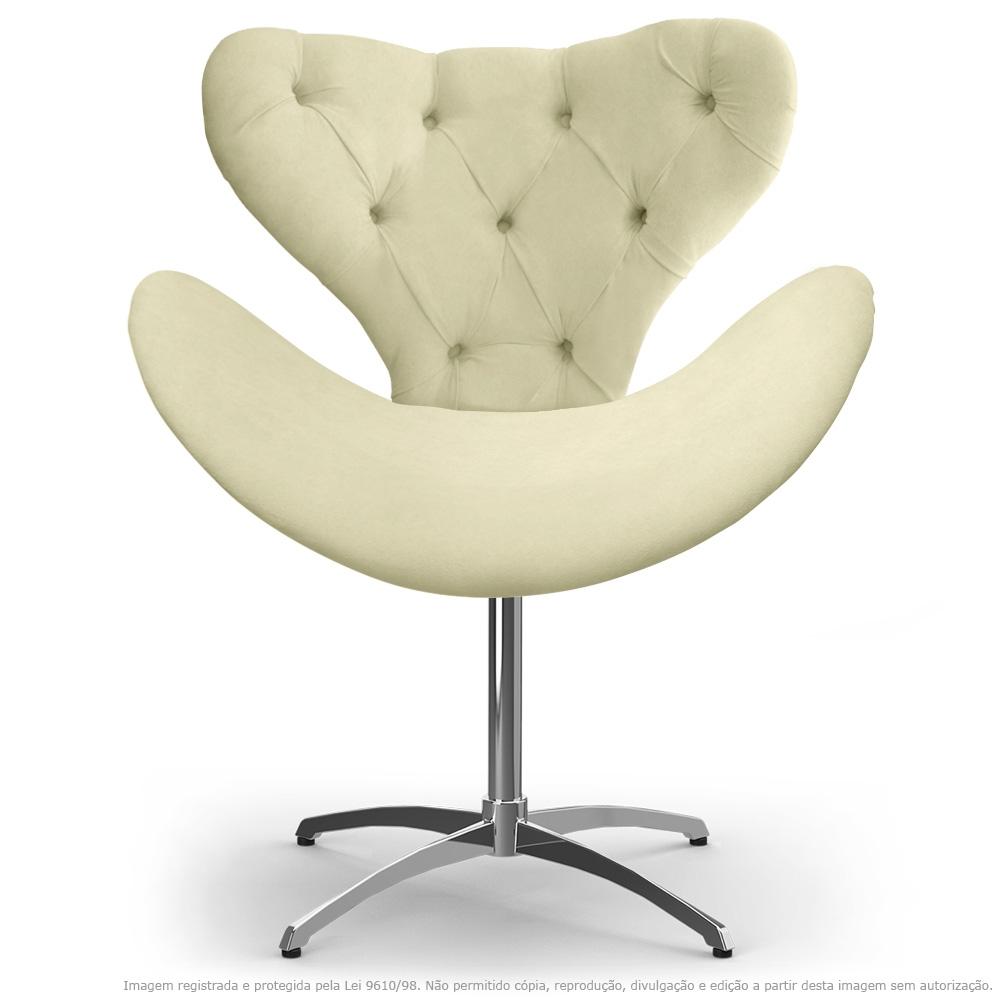 Cadeira com Capitonê Decorativa Poltrona Egg Bege com Base Giratória