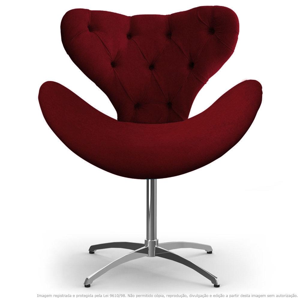 Cadeira Com Capitonê Decorativa Poltrona Egg Bordô Com Base Giratória