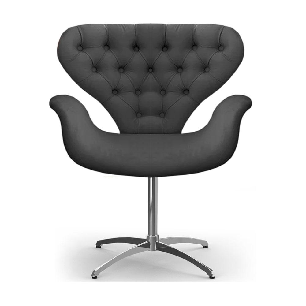 Cadeira Com Capitonê Poltrona Tulipa Cinza Base Giratória