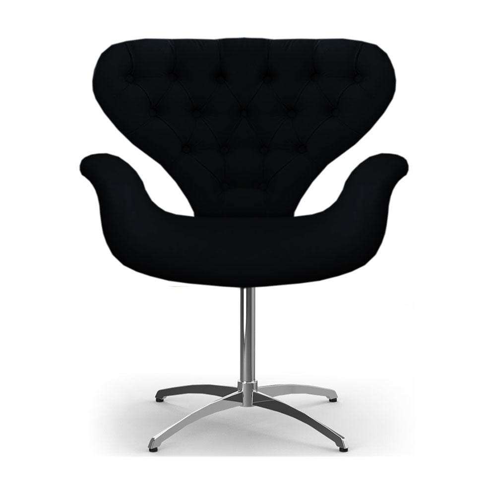 Cadeira Com Capitonê Poltrona Tulipa Preta Base Giratória