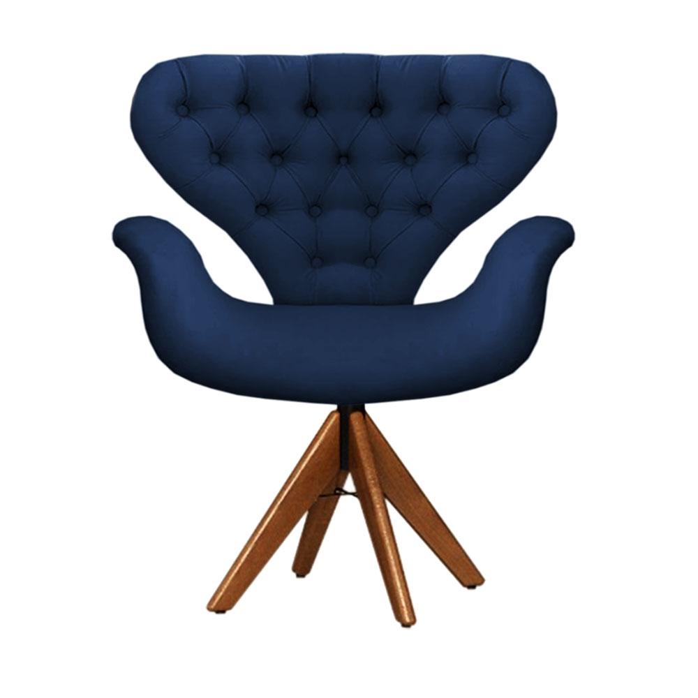 Cadeira Com Capitonê Tulipa Azul Marinho Giratória Madeira
