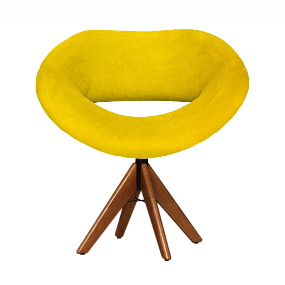 Cadeira Decorativa Beijo Amarela Base Giratória Madeira